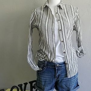 Ladies VOLCOM Grey/White Stripe Shirt M